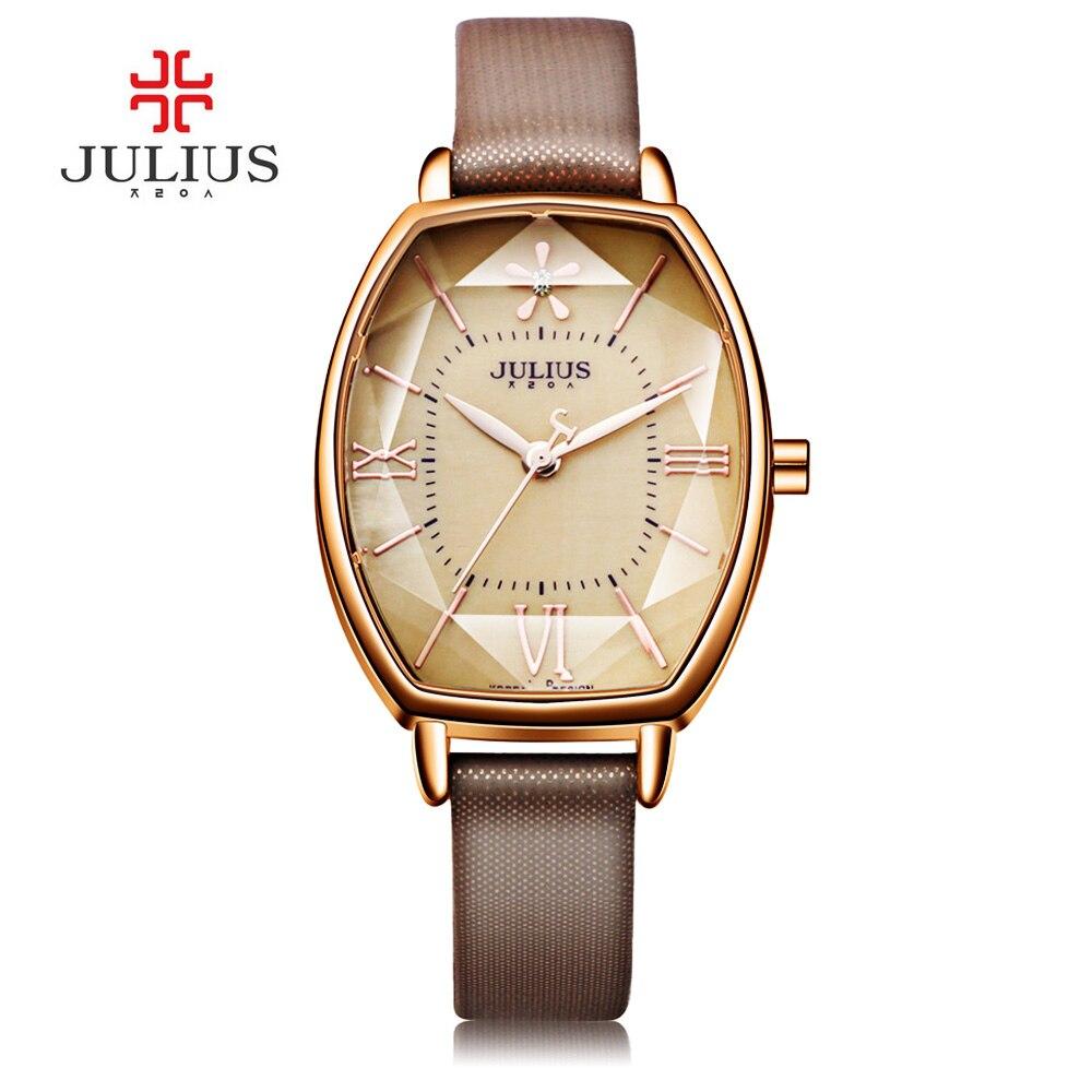 Prix pour 2017 Julius Marque Or Rose Creative Femmes Robe Montre Mince En Cuir Quartz Montre De Mode Femme Montres Horloge Montre Femme