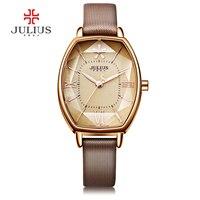 New Fashion Women Watch Luxury Casual Brand Julius Quartz Watches Tonneau Shape Genuine Leather Waterproof Relogio