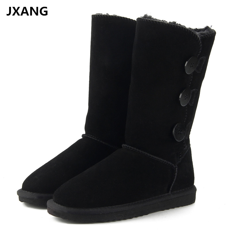 JXANG High Quality Fashion Women Snow Boots Genuine Leather Woman Boots Fur Long Warm Wool Shoes Women High Winter Boots