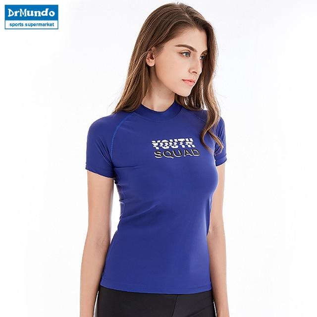 New Women Swimsuit Shorts Sleeve Rashguard Sun Protection Swimwear Solid Swim Shirt Surf Top Girls UPF 50+ Rash guard
