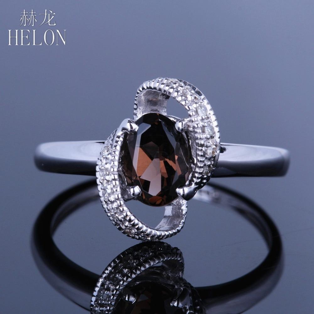 HELON 7x5mm Oval SMOKEY QUARTZ TOPAZ Wedding Solid 14K White Gold Pave Natural Diamonds Gemstone Engagement Fine Ring Jewelry все цены