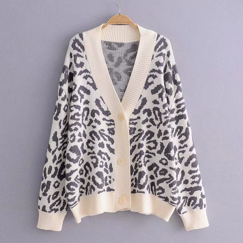 Casual Female Sweater Knitting Leopard Deep V-Neck Cardigan Tops Buttons Streetwear Loose Single Breasted Long Sleeve Sweater