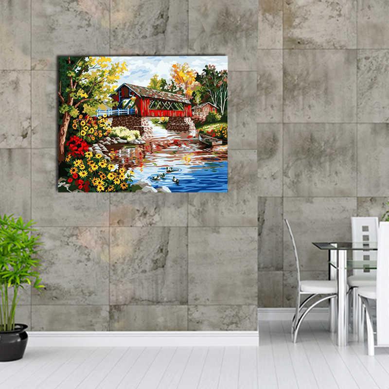 Pintura al óleo por números pintura diy dibujo para colorear en lienzo pintura a mano pintura de pared por número paisaje
