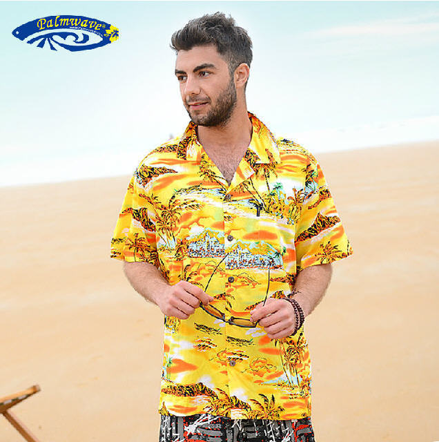 99085a17 Palmwave Hawaiian 2014 Summer Brand New Men Short Sleeve Casual Shirt,  Men's Plus Size Printing Beach Shirts Free Shipping Q774