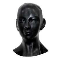 Latex New 0.8 mm Anatomical 3D mask w ears fetish w back zipper for Men and female size long to shoulder hood