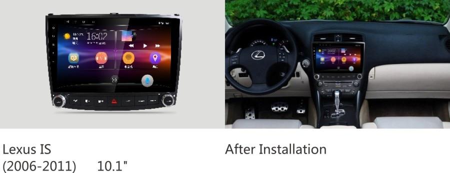 Lecteur multimédia de Radio DVD de voiture NAVIRIDER pour Lexus is250 IS200 IS300 Android 7.1 Navigation GPS de 10.2 pouces avec Bluetooth 2 GB + 32