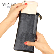 Vinniek Wallet Women Luxury Brand 2017 Silver Genuine Leather Women Wallets Long Purse Card Holder Cell Phone Pocket Coin Pocket
