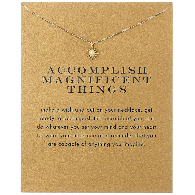 Trendy The Sun Necklace For Women Minimalist Pendant Gold Color Chain Choker Necklaces Accomplish Magnificent Things Gift Card