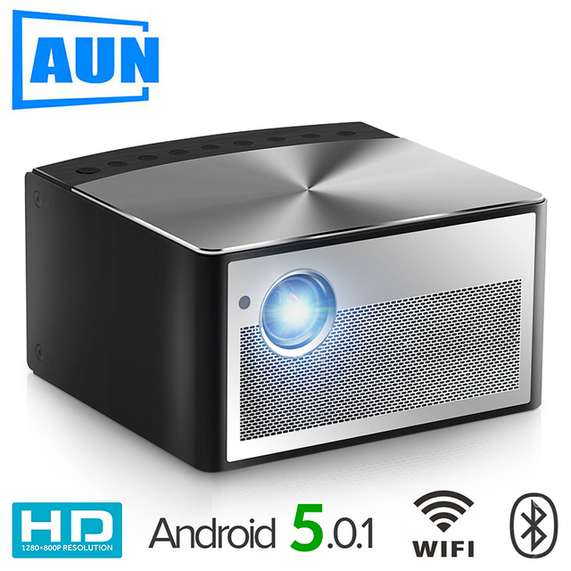 Big Sale AUN Smart Projector H1, 1300 ANSI Lumens. Memory: 2G+16G. Build in Android, WIFI, HDMI. MINI LED Projector. 1080P Home Theater