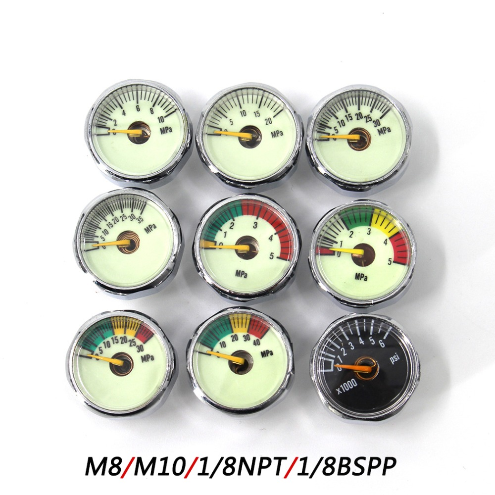 PCP Paintball Airforce Scuba Din Valve Regulator Pump M8x1 M10x1 Luminous Mini Air Pressure Gauge Manometre 20/30/40MPA 1 Inch