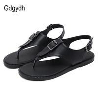 Gdgydh Comfortable Beach Sandals Women Fashion Flat Shoes Heel T Strap Flip Flops Sandals Summer Soft Leather Fashion Buckle