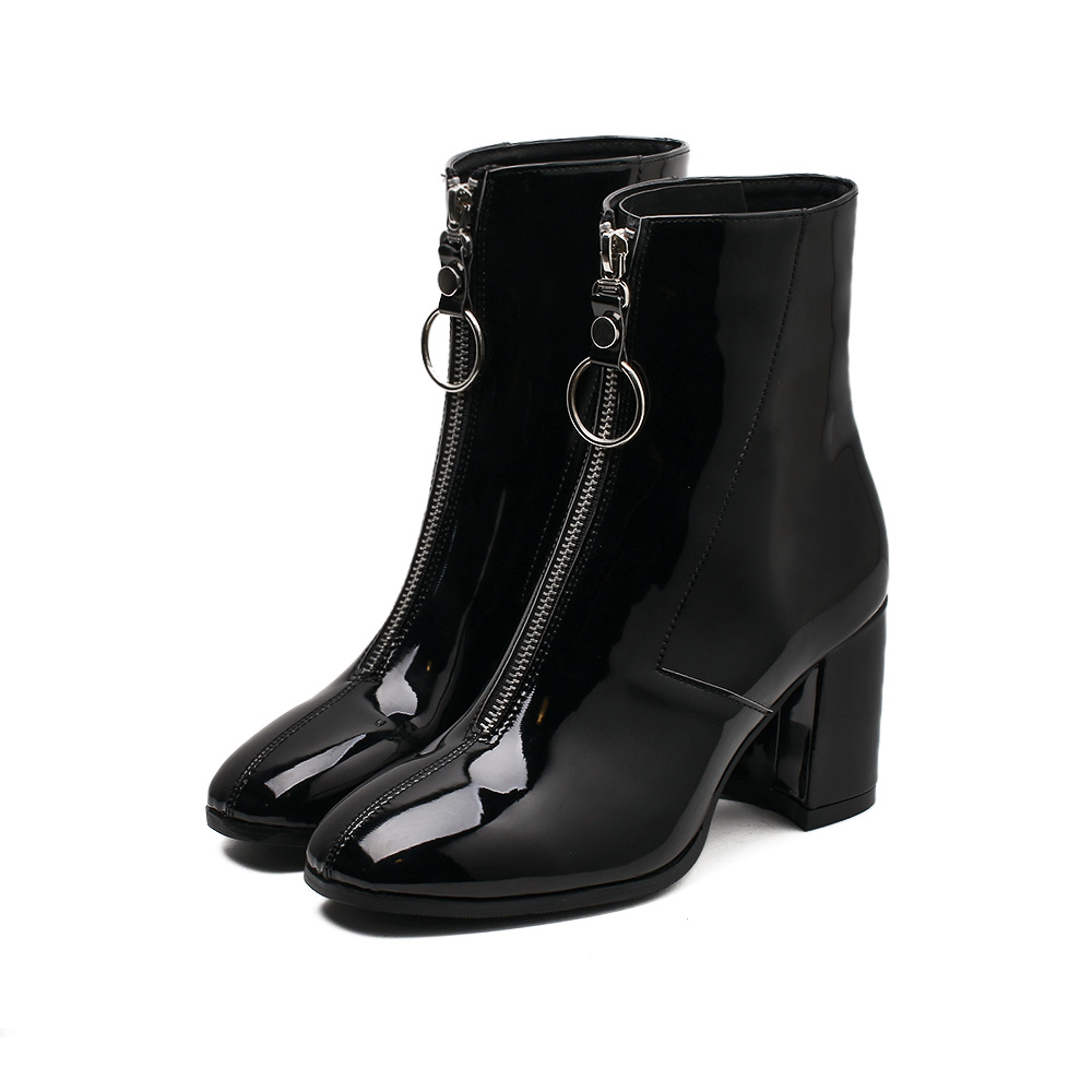 AGUTZM Autumn Fashion Chelsea Boots 2018 New Low Heel Boots Zipper Women Round Toe Square Heel Patent Leather Boots Black
