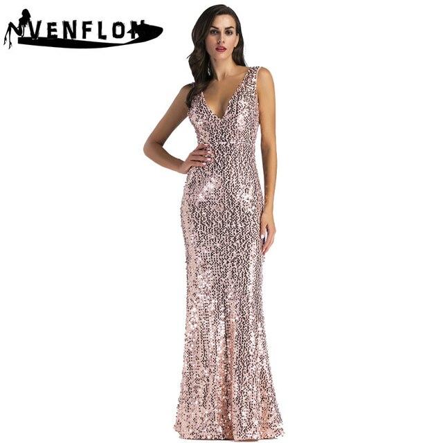 bafcb656ee Summer Dress Women 2019 Sexy Deep V Neck Backless Maxi Dress Female Elegant  Wedding Bridesmaid Mermaid Sequin Long Party Dress