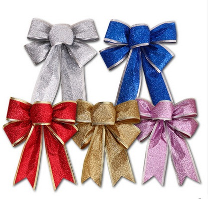 3Color Large Red Silver Gold Christmas Ribbon Bow Christmas Tree Decoration Handmade Arvores De Natal Grandes Christmas Ornament