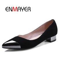 68db6636 ENMAYER mujeres bajo grueso tacones zapatos mujer punta estrecha bombas  Casual Zapatos mujer negro amarillo colores