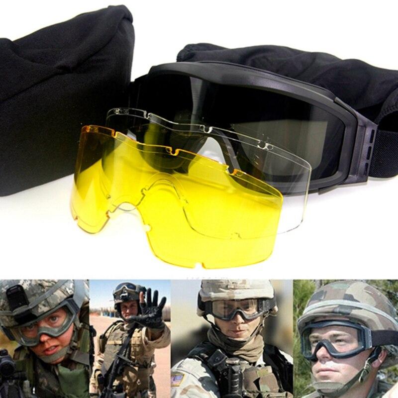 829ab790aa51e Top Quality Militar Airsoft Tactical Goggles Óculos de Tiro GX1000 3 Lens  Motocicleta Preta Wargame Óculos Óculos À Prova de Vento em Caminhadas  Eyewears de ...