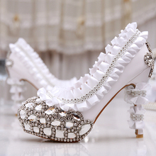 Luxury Bridal Shoes Bridesmaid Evening Party Rhinestone Shoes Wedding Dress Shoes Diamond High-heeled Woman Formal Dress Shoes