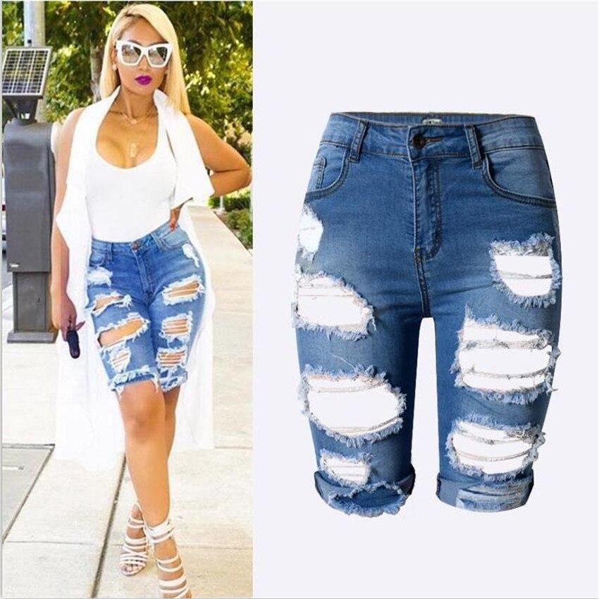Online Get Cheap Knee Length Ripped Jean Shorts -Aliexpress.com ...