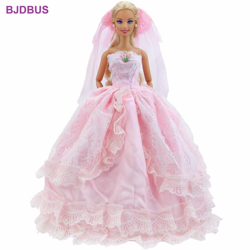 Barbie Pink Wedding Dresses: Fashion Handmade Pink Dress Bridal Veil Lady Gown With