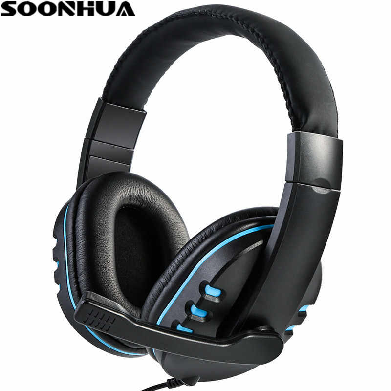 SOONHUA 3.5 مللي متر السلكية سماعة سماعة الألعاب ألعاب الكمبيوتر ستيريو المحيطي سماعة مزودة بميكروفون للكمبيوتر PS4 Xbox PC Xboxone
