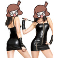 Tight Black PU Patent Leather Sexy Mini Dress Tight Women Costume Sex Cosplay Erotic Outfit Fun clothing