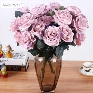Image 1 - Yapay ipek 1 demet fransız gül çiçek buketi sahte çiçek yerleşim tablosu papatya düğün çiçekler dekor parti aksesuarı Flores