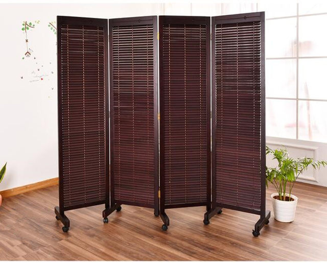 Oriental Japanese Style 4 Panel Wood Folding Screen With Wheels Room  Divider Home Decor Decorative Portable Asian Furniture