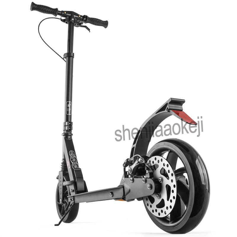 Adult Children scooter NEW Foldable PU 2-wheels Hand brake Foot brake Scooter Aluminum alloy urban campus transportation tools стоимость