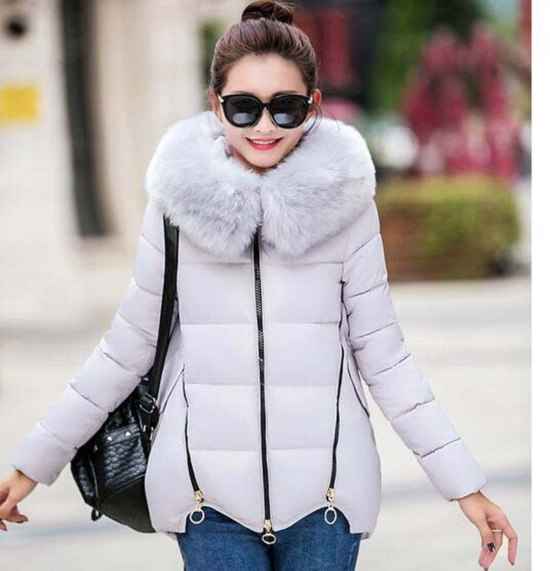 Brand fashion winter Keep warm jacket cloak loose womens cotton coats hooded parkas Thicken large faux fur collar mujer