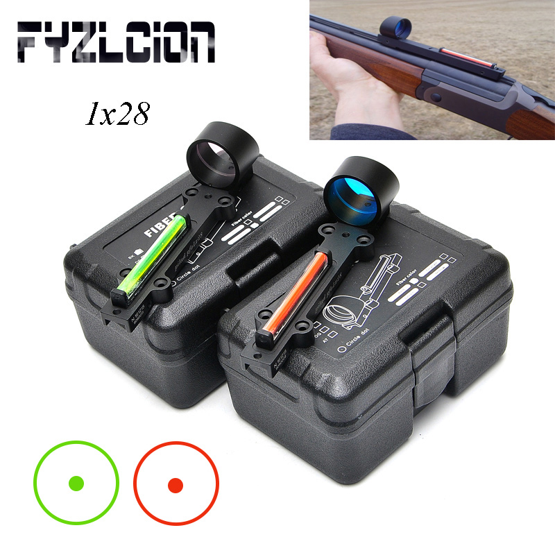 FYZCION ligero aire Rifle rojo/verde de fibra óptica 1x28 colimador punto de vista holográfico rango de caza disparo