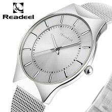 2017 READEEL новый лучший бренд класса люкс кварцевые часы Для мужчин Бизнес Повседневное Япония кварц-часы Полный Сталь Для мужчин часы ультра тонкие часы мужские