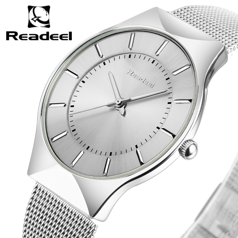 2017 Readeel New Top Brand Luxury Quartz watch Men Business Casual Japan Quartz-Watch Full Steel Men Watch Ultra Thin Clock Male mike 8831 men s business casual quartz watch silver blue