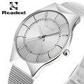 2017 readeel nueva top marca de lujo de cuarzo reloj de los hombres de negocios Casual Japón Reloj de Cuarzo-Reloj de Acero Completo Reloj de Los Hombres Ultra Delgado masculino