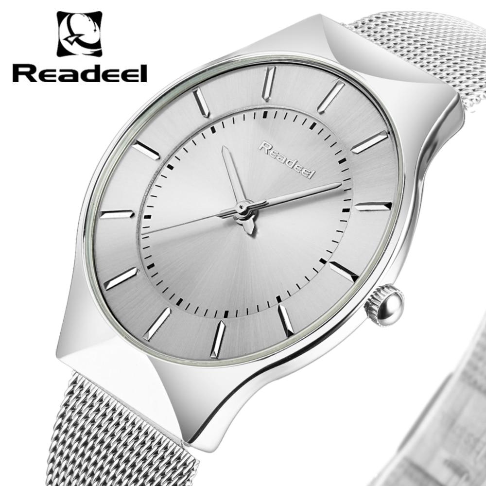 Readeel Nieuw Topmerk Luxe quartzhorloge Heren Business Casual Japan Quartz-horloge Volledig stalen herenhorloge Ultra dunne klok Heren 2018