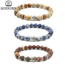 HOBBORN Trendy 8mm Natural Stone Bracelet Women Men Sandstone Map Picture Lava Buddha Head Strand Charm Beads Bracelets