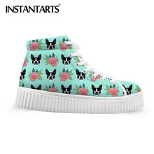 INSTANTARTS High Top Flache Plattform Schuhe 3D Berühmte Tier Boston Terrier Floral Print Frauen Winter Kurze Stiefel Höhe Zunehmende(China)