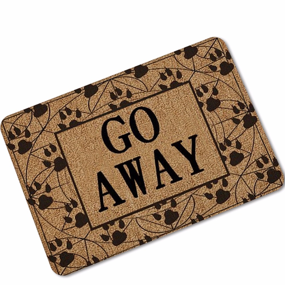 Us 4 98 29 Off Customize Go Away Rubber Floor Carpet Funny Door Mat Welcome Home Outdoor Indoor Area Rug Doormat For Entrance Tapetes In