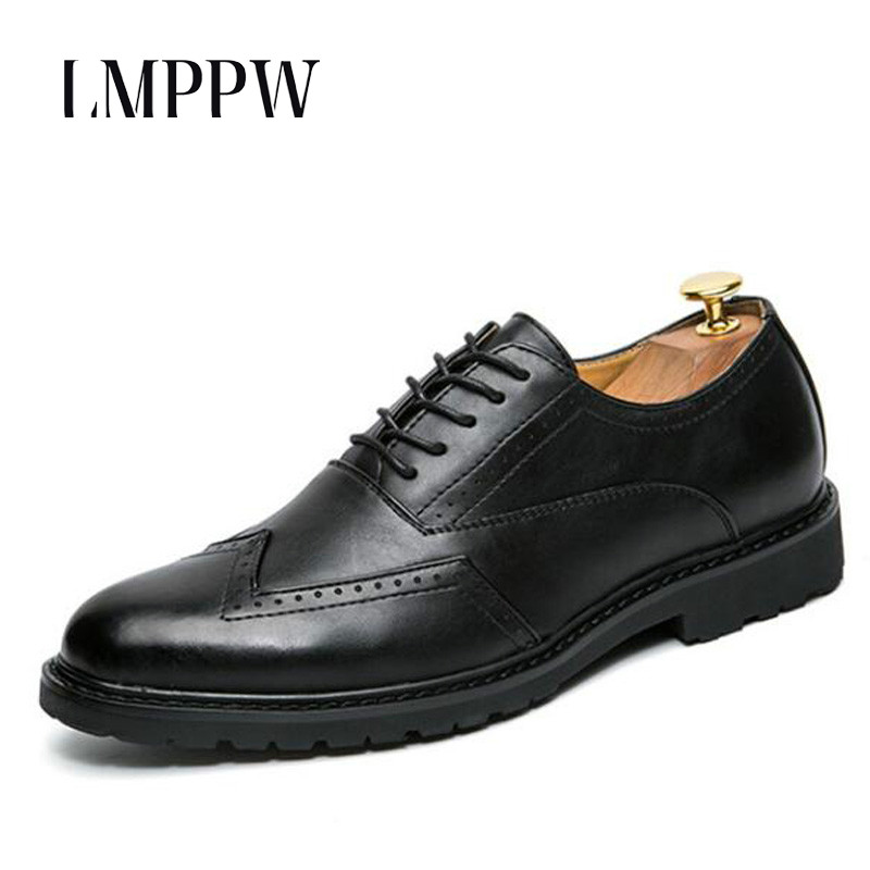 New 2018 High-Quality Men Shoes Fashion Pu Leather Men Business Flats Casual Shoes British Style Bullock Men Trend Oxford Shoes zxq brand handmade new winter men oxford shoes solid color high quality retro british style men flats leather shoes
