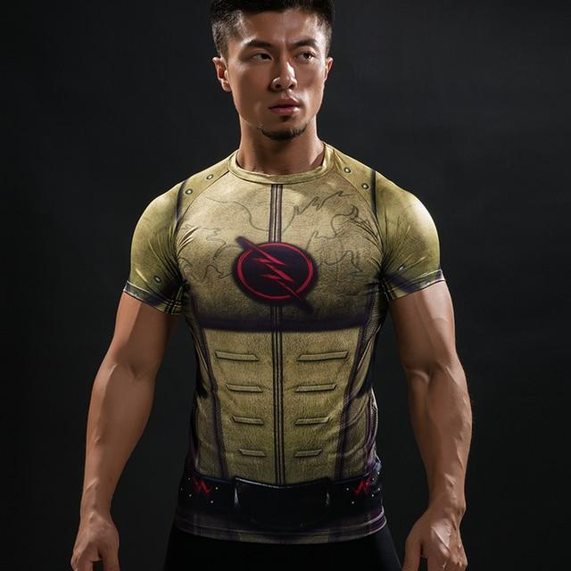 2d0d6e7bec3f4 Cosplay traje reverso Flash 3D impreso camisetas hombres Raglan manga corta  superhéroe compresión camisa Fitness ropa
