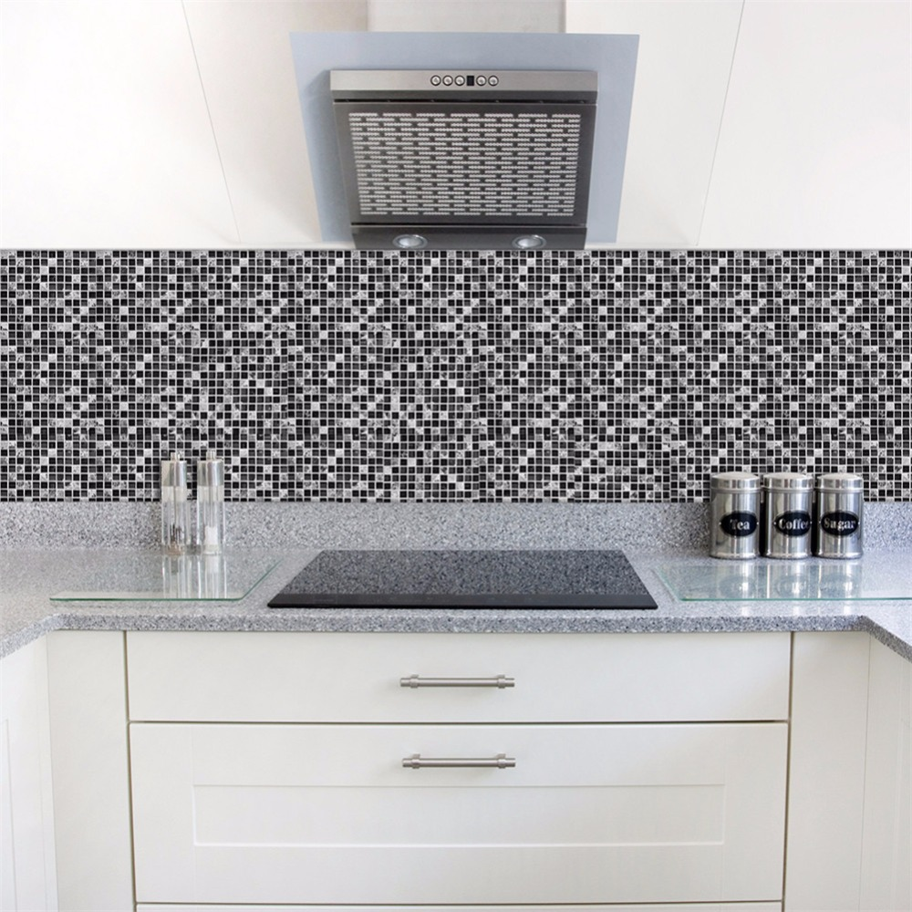 How To Clean Bathroom Wall Tiles Easily: Yanqiao Black Marble Mosaic Wall Sticker Tiles Peel And