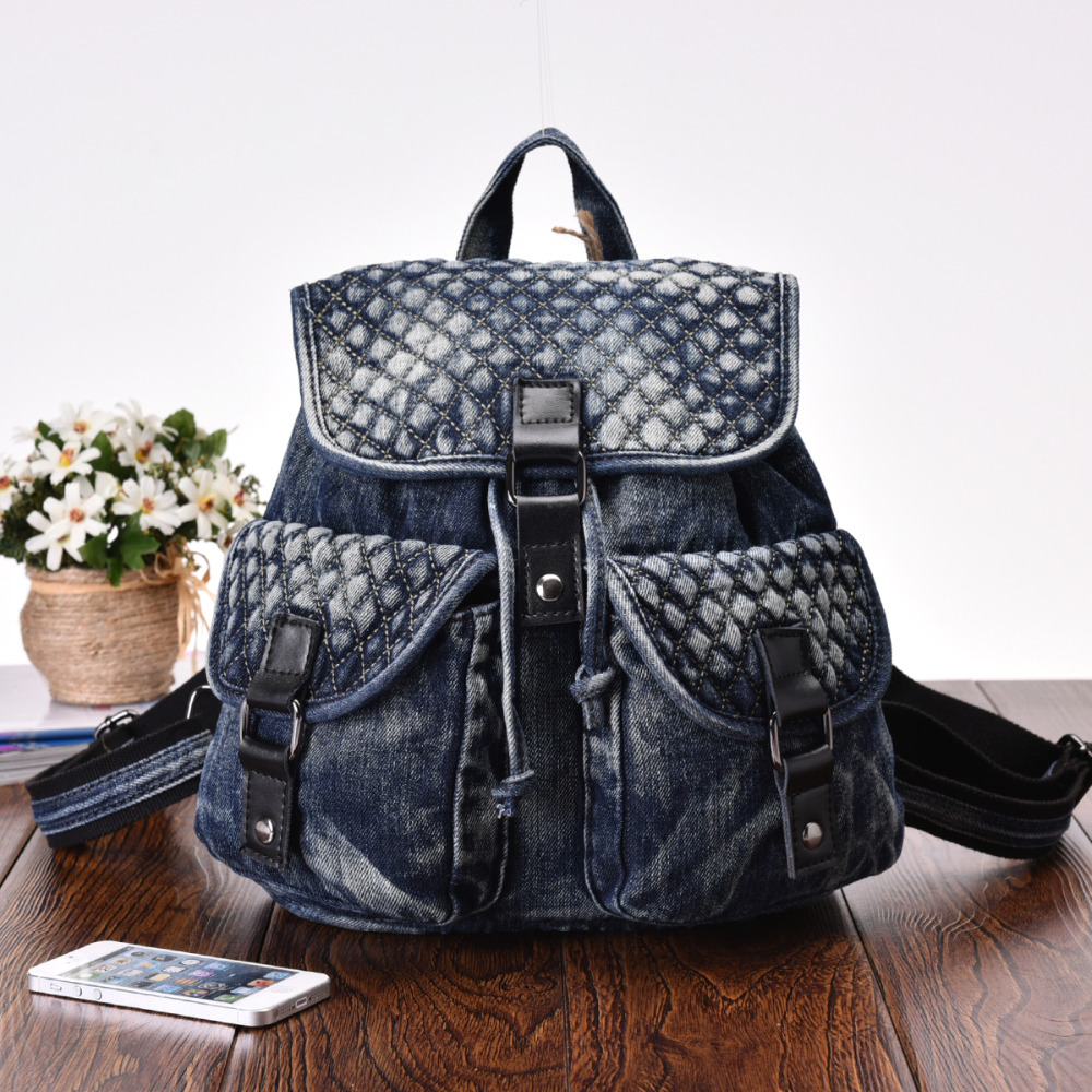 Vintage Casual Preppy Style Criss-Cross Denim Backpack School Bags Jeans Women Daypacks CrossBody bag bolsa feminina 59456 vintage women jeans calca feminina 2017 fashion new denim jeans tie dye washed loose zipper fly women jeans wide leg pants woman