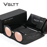 VGLTT Mirror Cat Eye Brand Designer Women Sunglasses Female Vintage Cool Sun Glasses Fashion Rose Gold
