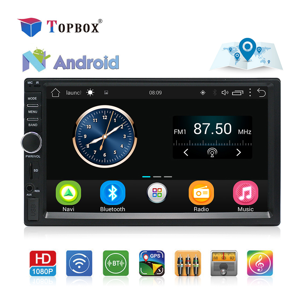 Topbox 2 Din  Android GPS Navigation Car Radio Stereo 7''Touch Screen Universal Car Player Wifi Bluetooth USB Audio