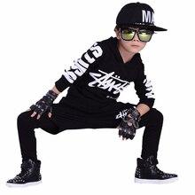 Jazz dance boys clothes kids hip hop clothing Kids Suit black red hooded Long Shirt Pants