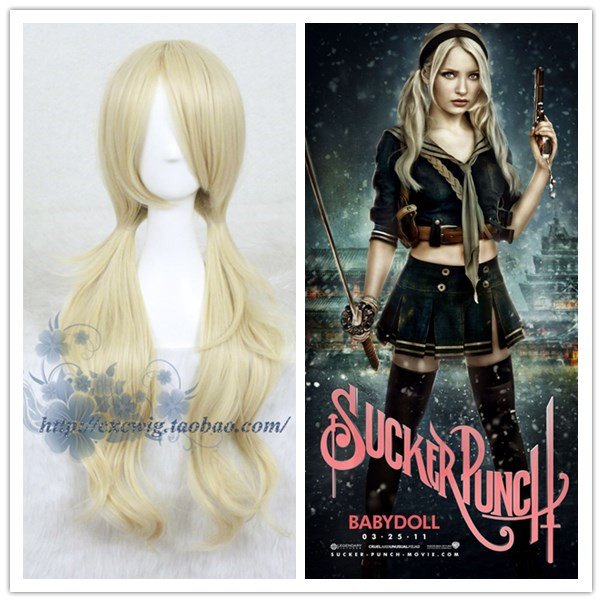 Sucker Punch Women Baby Doll Cosplay Wig Baby Doll Role Play Blonde Hair Golden Wig Costumes