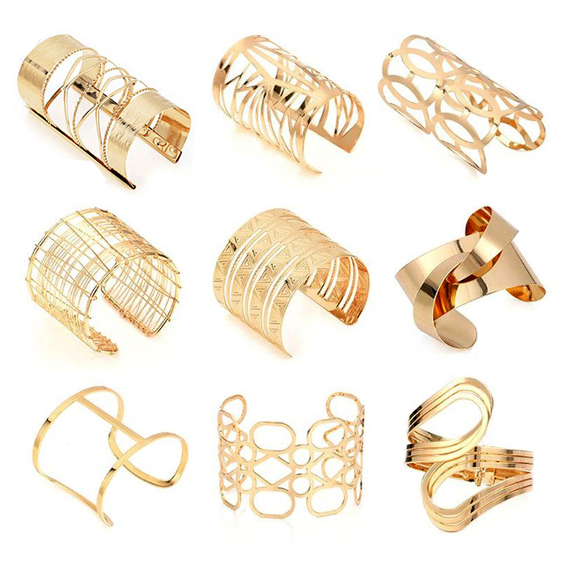 Hollow Wide Cuff Bracelets & Bangles For Women Men Gold Silver Color Alloy Open Big Male Female Bangle Bracelet Fashion Jewelry