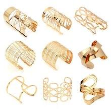 Pulseras y brazaletes anchos huecos para Mujeres Hombres oro aleación Color plateado abierto brazalete grande Masculino Femenino pulsera joyería de moda