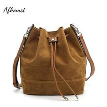 AFKOMST Drawstring Bucket Bag for Women Large Brown Crossbody Purse and Shoulder Bag Suede Tote Handbags High Quality HD 70186