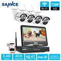 Sannce hd 720 p wifi sistema de segurança de vídeo com tela 10'1 lcd 4 pcs 720 p 1.0mp câmera ip sem fio kit de vigilância cctv