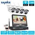 Sannce hd 720 p wifi sistema de seguridad de vídeo con pantalla lcd 4 unids 10'1 720 p 1.0mp cámara ip inalámbrica kit de vigilancia cctv